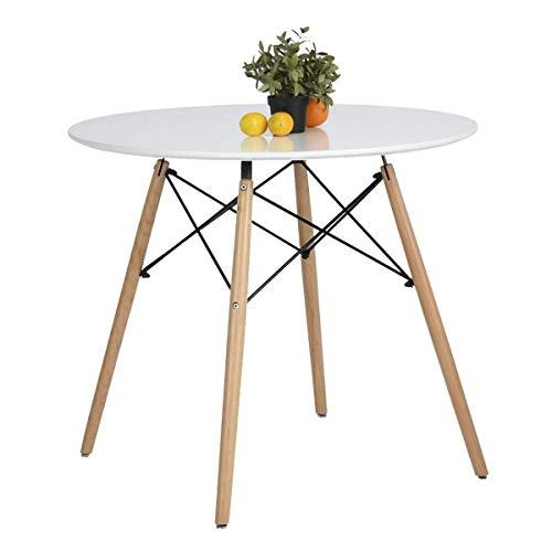 Coavas Esstisch Rund Küchentisch Modern Büro Konferenztisch Weiß Kaffeetisch, Küche Esstisch Freizeit Holz Kaffee Tee Büro, Creme Weiß