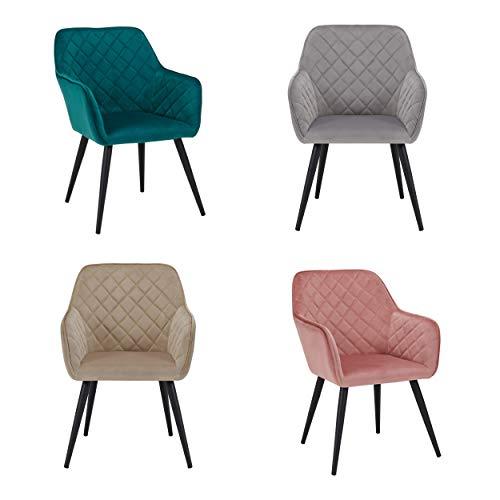 Duhome Esszimmerstuhl aus Stoff (Samt) Farbauswahl Retro Design Armlehnstuhl Stuhl mit Rückenlehne Sessel Metallbeine 8058