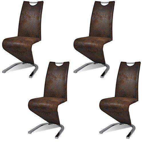 Festnight 4 Stücke Esszimmerstuhl Kunstleder Essstuhl Freischwinger Küchenstühle U-förmiger Standfuß Stuhl Sitzgruppe Braun