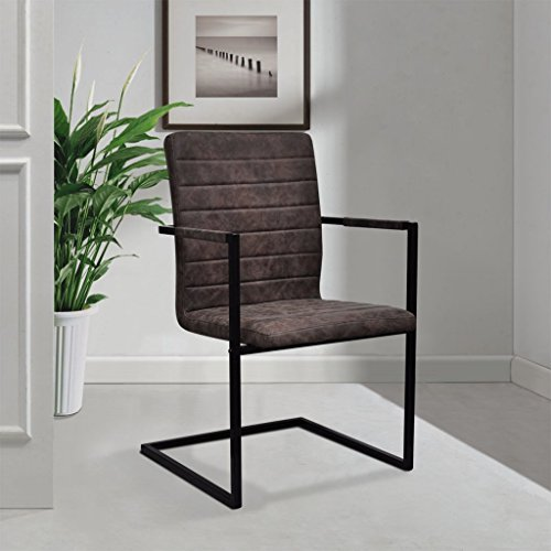 Festnight 4 Stücke Freischwinger Esszimmerstühle Essstuhl Küchenstuhl mit Armlehnen Schwingstuhl Braun geriffelt