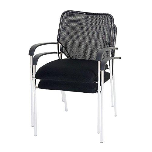 Mendler 2X Besucherstuhl Tulsa, Konferenzstuhl stapelbar, Stoff/Textil ~ Sitz schwarz, Rückenfläche schwarz
