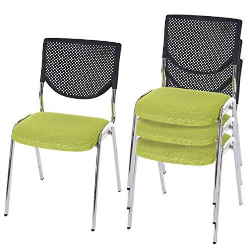 Mendler 4X Besucherstuhl T401, Konferenzstuhl stapelbar, Stoff/Textil ~ Sitz grün, Füße Chrom