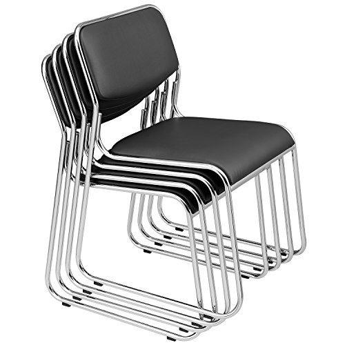 [Pro.Tec] 4X Besucherstühle (Schwarz - Gepolstert)(im Sparpaket) Konferenzstuhl/Stuhl / Bürostuhl/Stuhl / Wartezimmer - Stuhl