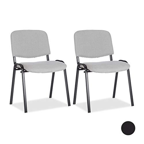 Relaxdays Besucherstuhl 2er Set, stapelbar, Polsterung, kompakter Konferenzstuhl, Stapelstuhl Höhe 40 cm, versch. Farben
