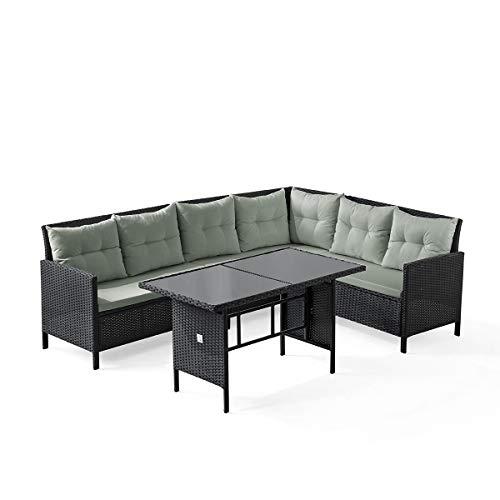 SVITA Madison & Monroe Polyrattan Ecksofa Rattan-Lounge Esstisch Gartenmöbel-Set Sofa Garnitur Couch-Eck