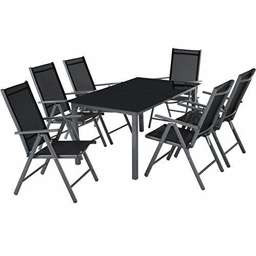 TecTake 800355 Aluminium Polyrattan 6+1 Sitzgarnitur Set, 6 Klappstühle & 1 Tisch mit Glasplatten - Diverse Farben -