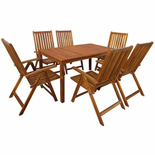 Tidyard- Garten-Essgruppe 7-TLG. Tisch und Stuhl Set | Holztisch und Stuhl | Gartengruppe | Gartenmöbel Essgruppe 1 Tisch + 6 Klappstühle Akazie Massivholz