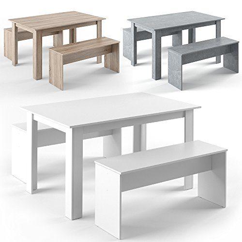 VICCO Tischgruppe 140 x 90 cm - 4 Personen - Esszimmer Esstisch Küche Sitzgruppe Tisch Bank - Bänke flexibel verstaubar