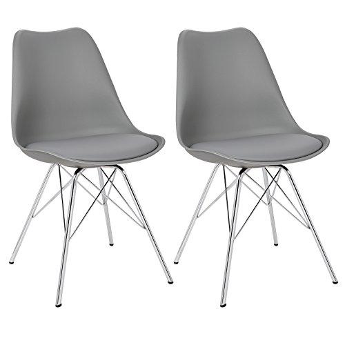 WOLTU 2er Set Esszimmerstühle Küchenstühle Wohnzimmerstuhl Polsterstuhl Design Stuhl Kunstleder Gestell aus verchromtem Stahl #966