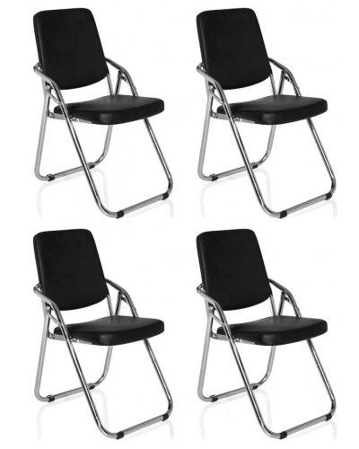 hjh OFFICE Konferenzstuhl ESTO Kunstleder Schwarz Klappstuhl im Set und einzeln
