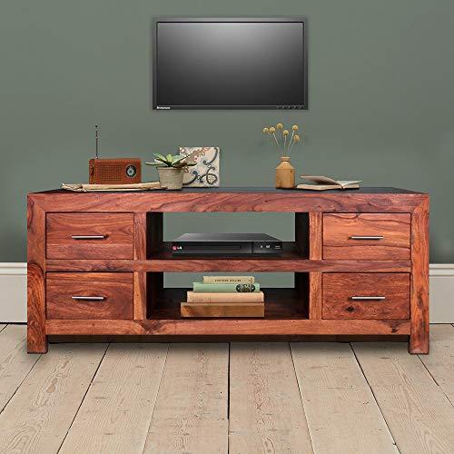 Arts-of-India TV Element Lowboard Sheesham Holz Lowboard Schrank Board und Schubladen