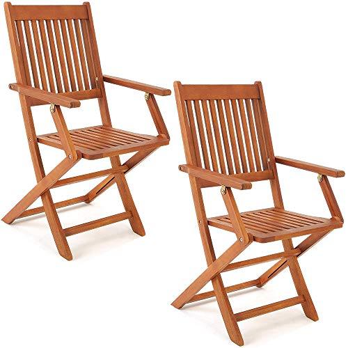 Deuba 2er Set Gartenstuhl Sydney | FSC®-zertifiziertes Akazienholz klappbar Klappstuhl Hochlehner Garten Klappsessel