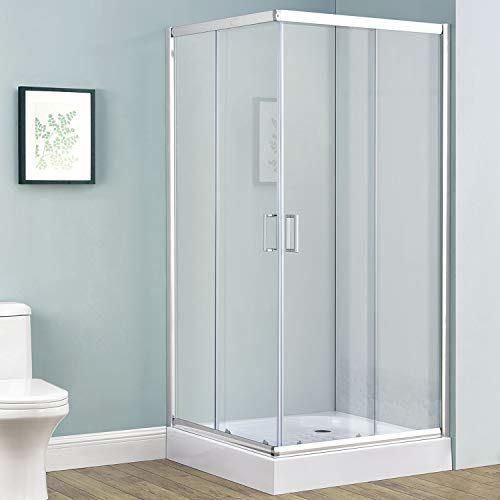 Duschkabine Braga aus Alu-Echtglas mit Eckeinstieg & Schiebetüren in 4 Größen