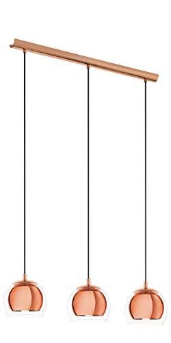 EGLO 94591 A++ to E, Hängeleuchte, Stahl, E27, Kupfer/ Transparent, 78 x 19 x 110 cm