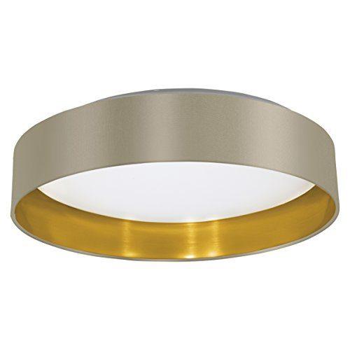 EGLO Deckenleuchte, Stahl, Integriert, Taupe/Gold/Weiß, 40.5 x 40.5 x 10 cm