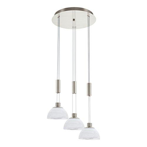 EGLO Hängeleuchte, Glas, Integriert, Nickel-matt/Weiß, 42 x 42 x 110 cm
