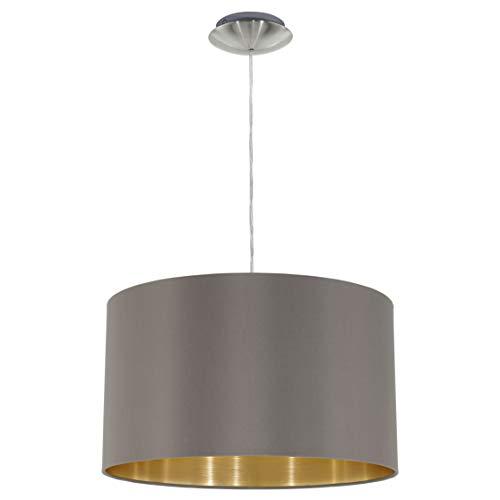 EGLO Hängeleuchte Maserlo Durchmesser 38cm Nickel-Matt Schirm Cappucino Gold, Stahl, E27, 38 x 38 x 110 cm