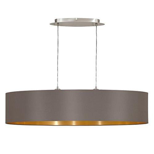 EGLO Hängeleuchte Maserlo Länge 100cm Nickel-Matt Schirm Cappucino Gold, Stahl, E27, 100 x 25 x 110 cm
