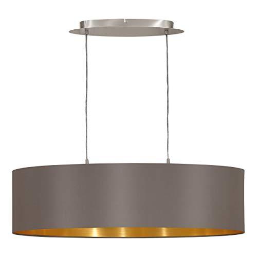 EGLO Hängeleuchte Maserlo Länge 78cm Nickel-Matt Schirm Cappucino Gold, Stahl, E27, 78 x 22 x 110 cm