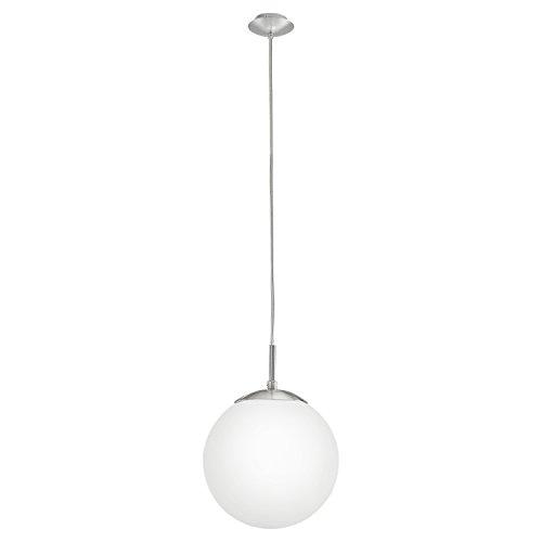 EGLO Hängeleuchte Rondo mit opal-mattem Glas Durchmesser 20cm, Stahl, Nickel