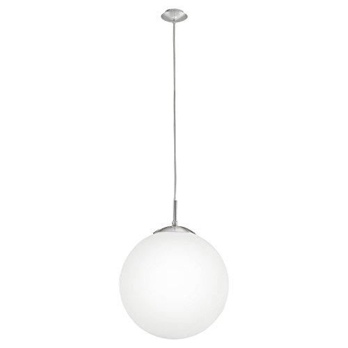 EGLO Hängeleuchte Rondo mit opal-mattem Glas Durchmesser 30cm, Stahl, E27, Nickel, 30 x 30 x 110 cm