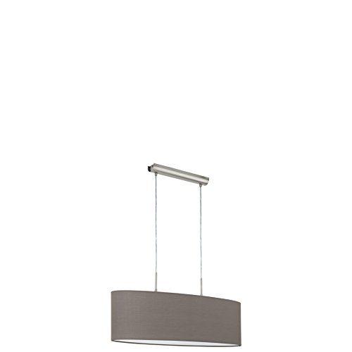EGLO Hängeleuchte, Stahl, E27, Nickel-matt/Anthrazit-braun, 75 x 22 x 110 cm