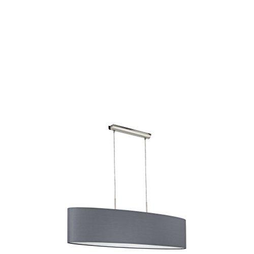 EGLO Hängeleuchte, Stahl, E27, Nickel-matt/Grau, 100 x 28 x 110 cm