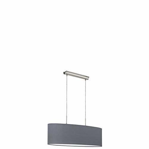 EGLO Hängeleuchte, Stahl, E27, Nickel-matt/Grau, 75 x 22 x 110 cm