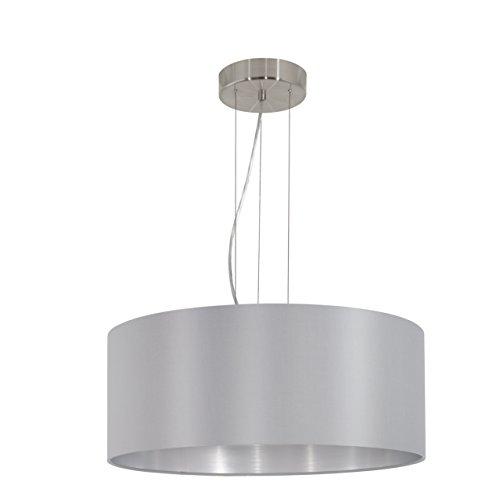 EGLO Hängeleuchte, Stahl, E27, Nickel-matt/Grau/Silber, 53 x 53 x 110 cm