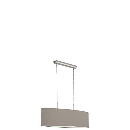 EGLO Hängeleuchte, Stahl, E27, Nickel-matt/Taupe, 75 x 22 x 110 cm
