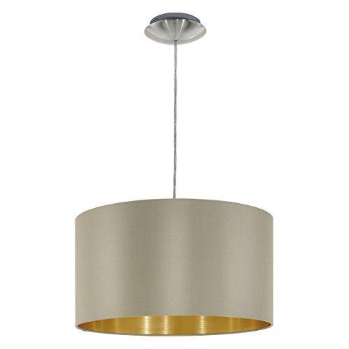 EGLO Hängeleuchte, Stahl, E27, Nickel-matt/Taupe/Gold, 38 x 38 x 110 cm