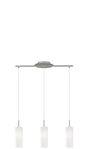 EGLO Hängeleuchte, Stahl, E27, Nickel-matt/Weiß, 72 x 10.5 x 110 cm