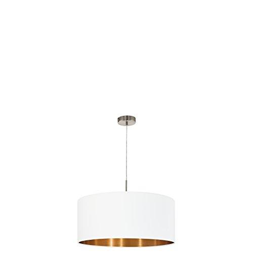 EGLO PASTERI Hängeleuchte, Stahl, E27, Nickel-matt/weiß/kupfer, 53 x 53 x 110 cm