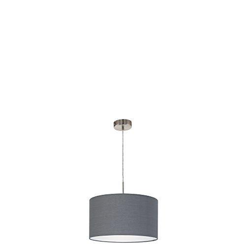 EGLO Pendelleuchte Hängeleuchte Hängelampe, Textil, E27, Stoffschirm grau, 38 x 38 x 110 cm