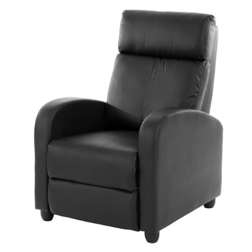 Fernsehsessel Relaxsessel Liege Sessel Denver, Kunstleder ~ schwarz