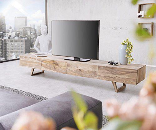 Fernsehtisch Wyatt Sheesham Natur 220 cm 4 Schubladen Design Lowboard