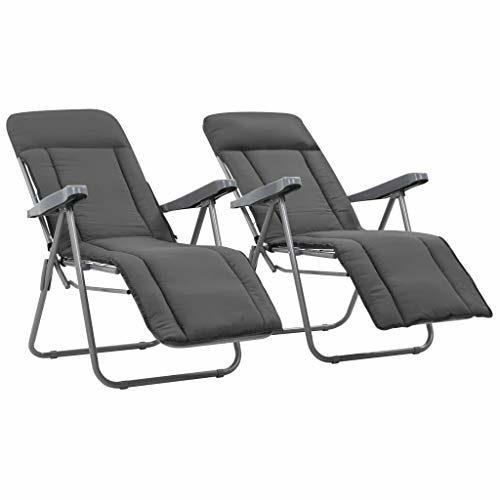 Festnight- 2 STK.Klappbare Gartenstühle mit Auflage Relaxliege Liegestuhl Klappstuhl Faltbar Hochlehner Gartenstühle Gartensessel Liegebett Grau