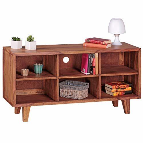 FineBuy Lowboard Massivholz Kommode 118cm TV-Board 6 Fächer Landhaus-Stil dunkel-braun Unterschrank TV-Möbel
