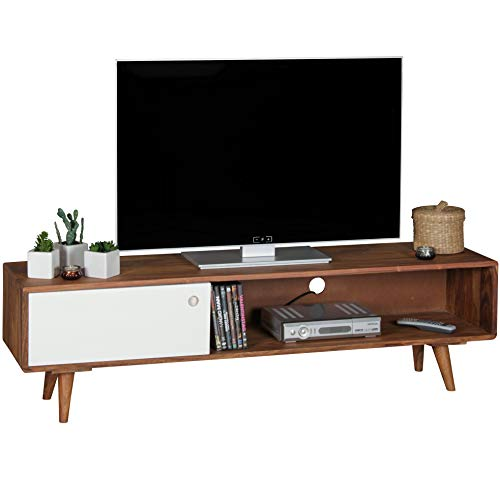 FineBuy TV Lowboard Sheesham Massivholz mit 1 Tür 140 x 40 x 35 cm | TV Hifi Regal im Retro-Design | Fernsehschrank TV-Board in dunkelbraun / weiß