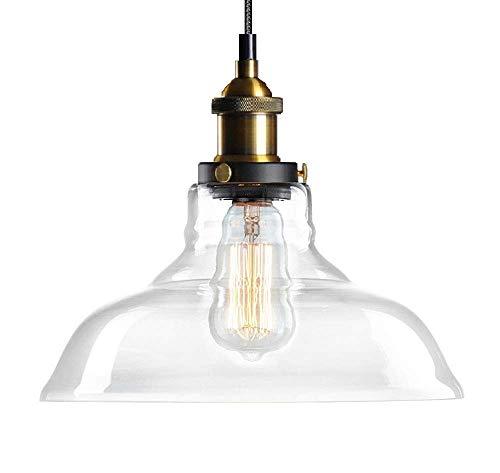 Glas Pendelleuchte Lantu Kreative Vintage Industrie Metall Handgefertigt Einfache Transparente Glas verstellbare Kronleuchter Schatten Loft Pendelleuchte Retro Deckenleuchte Vintage Lampe
