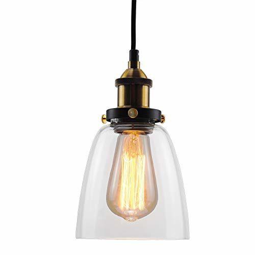 Glas Pendelleuchte, Lantu Kreative Vintage Industrie Metall Klarglas Kugel Runde Schatten Loft Pendelleuchte Retro Deckenleuchte Vintage Lampe