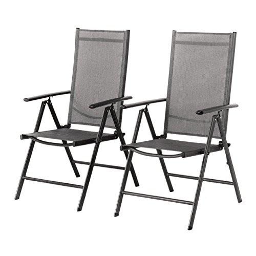 Grand Patio 2-er Set Stuhl, Klappstuhl, Gartenstuhl, Hochlehner für Terrasse, Balkon Camping Festival, aus Aluminium Verstellbar, Leicht, Stabil,Grau