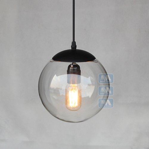 Hines Glas Pendelleuchte, kreative Vintage Industrial Metal Finish Klarglas Ball Runde Schatten Loft Pendelleuchte Retro Deckenleuchte Vintage Lampe