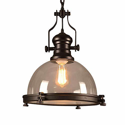 Industrie Retro Pendelleuchte Glas Schirm Rund Kuppel Design Pendellampe Höhenverstellbar Vintage Schwarz Metall E27 Lampen für Esszimmer Esstisch Wohnzimmer Schlafzimmer Deckenleuchte