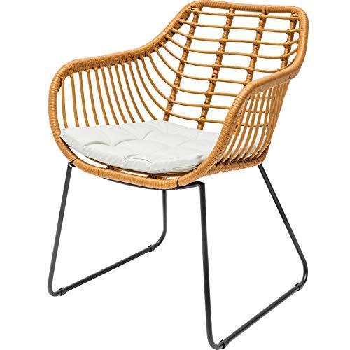 Invicta Interior 2er Set wetterfester Gartenstuhl Bamboo Lounge Rattan inkl. Sitzkissen Stuhl für Garten Terrasse oder Balkon wetterfest Rattanstuhl Gartenmöbel