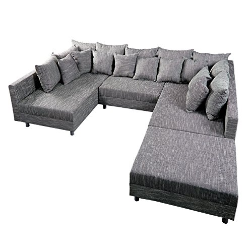Invicta Interior Design Sofa Loft XXL mit Hocker Strukturstoff anthrazit