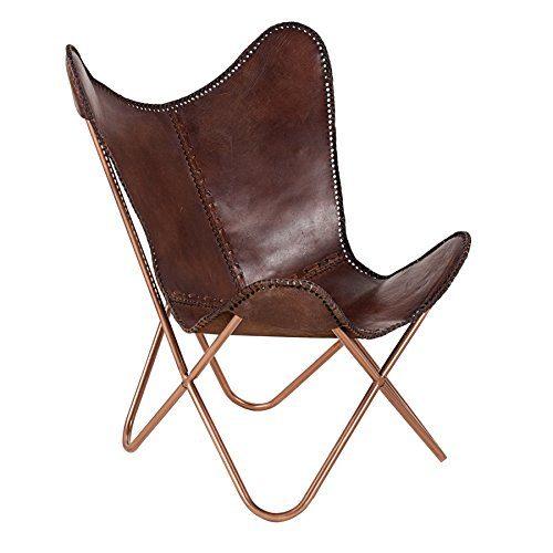 Invicta Interior Echtleder Sessel Butterfly Echtes Leder braun Eisengestell in Kupfer Stuhl Lounge Esszimmer Klappstuhl Loungesessel Liegestuhl Luxus Campingstuhl