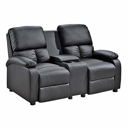 MACOShopde by MACO Möbel 2er Kinosessel - Zweisitzer Doppelsitzer Cinema Relaxsessel TV-Sessel mit Getränkehalter Verstellbarer Fernsehsessel mit Liege-/ Relaxfunktion