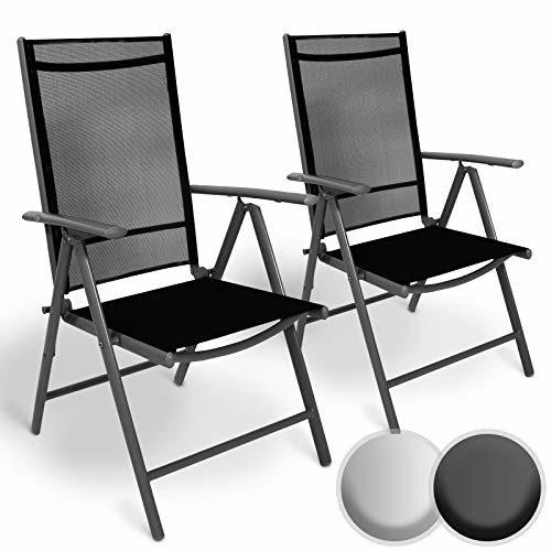 MIADOMODO Aluminium Gartenstuhl mit Armlehnen Set | 5-Fach verstellbar, leicht, klappbar, mit 2x1 Kunststoffgewebe | Hochlehner, Klappstuhl, Liegestuhl, Stühle, Sitzmöbel, Garten, Terrasse