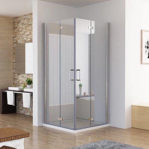 MIQU Duschkabine Eckeinstieg Dusche Falttür 180º Duschwand Duschabtrennung Nano Glas